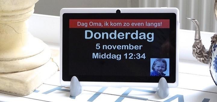 Een boodschap plus foto in DayClock