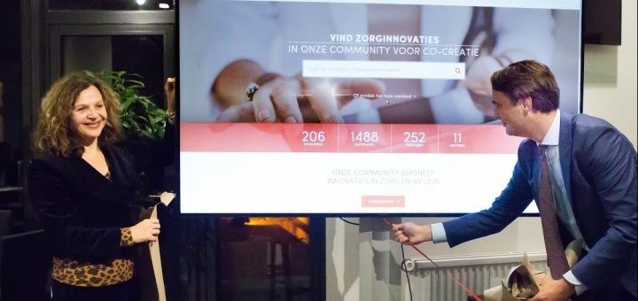 Minister Edith Schippers (l) en Wilco Schuttelaar (r) van Zorginnovatie.nl