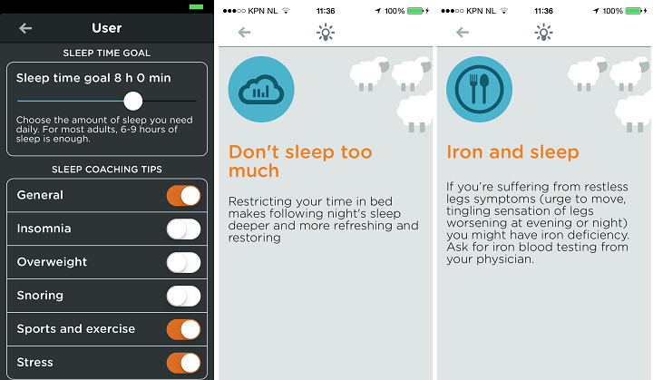 Slaaptips in Beddit app