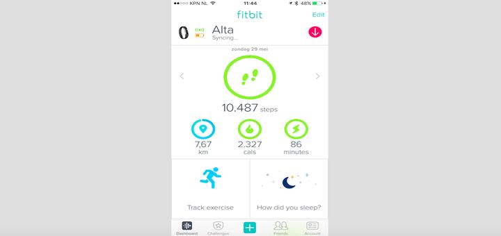 Het nieuwe dashboard van de Fitbit app
