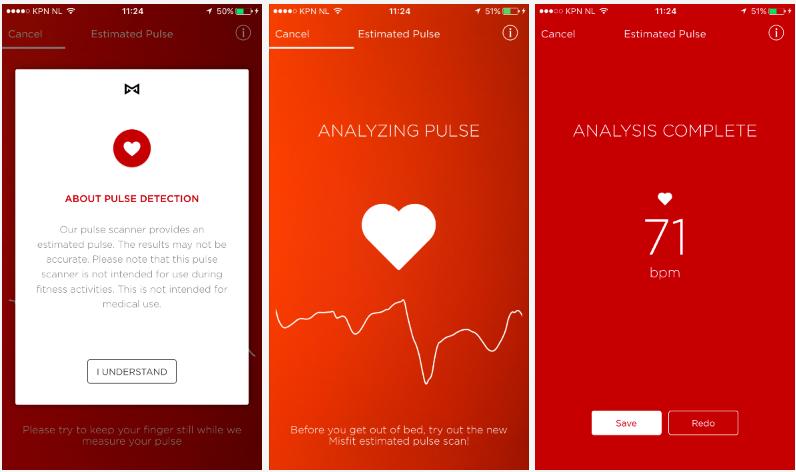 Hartslag meten in de Misfit Ray app